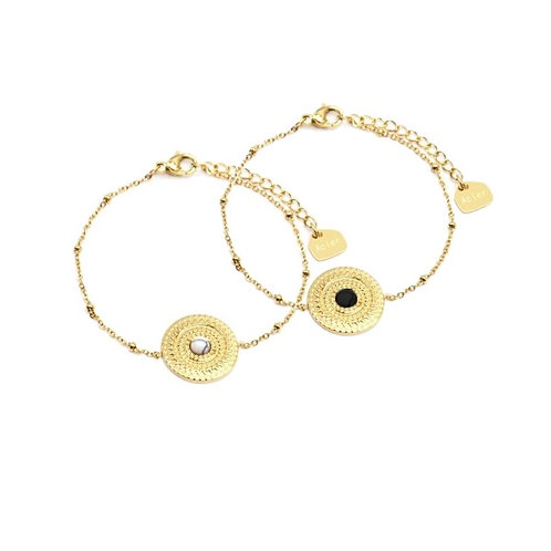 Bracelets charm chaînette dorée acier médaille martelée