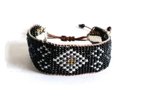 Bracelet perles rocaille tissées noires
