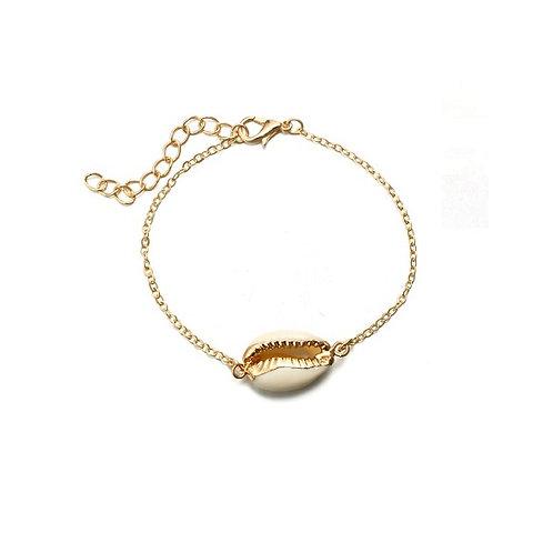 Bracelet fin doré coquillage cauris