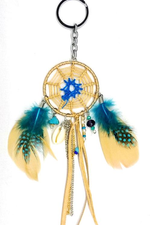 porte-clef beige attrape rêve plume turquoise