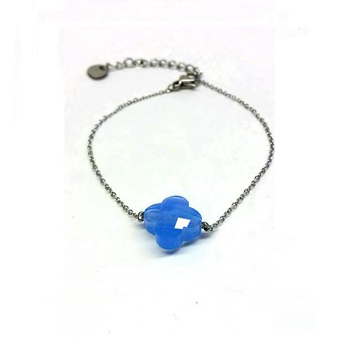 Bracelet en acier inoxydable argenté trèfle verre bleu