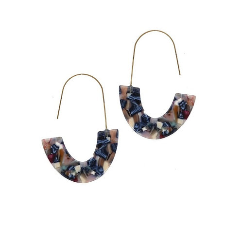 Boucles d'oreilles créoles résine bleue