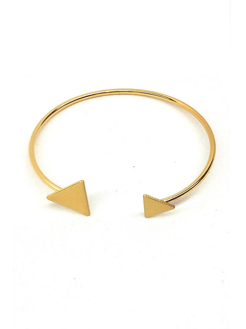 bracelet jonc charm triangle doré