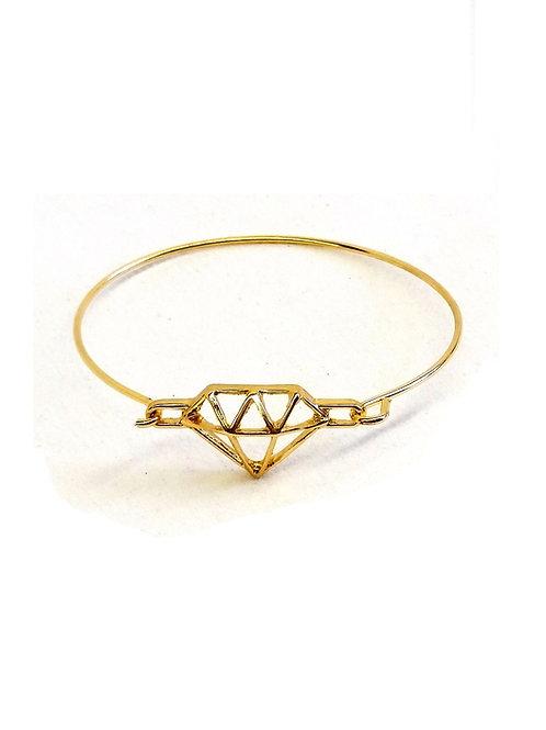 Bracelet charm's métal doré motif diamant filigrane