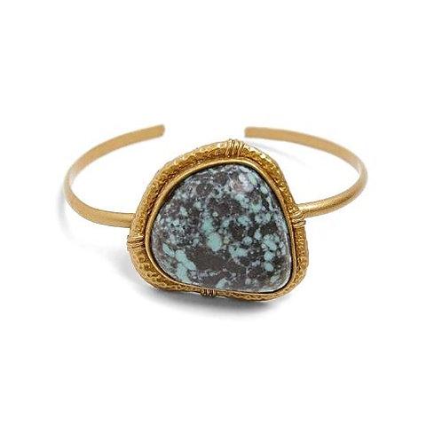 Bracelet manchette résine bleue marbrée