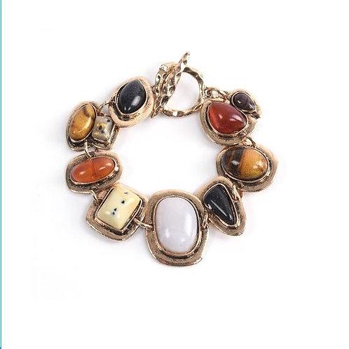 Bracelet doré en pierres naturelles marron
