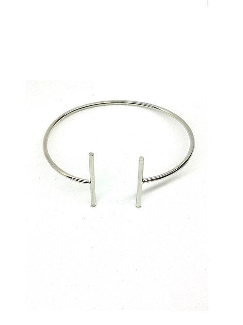 Bracelet minimaliste charms métal argenté