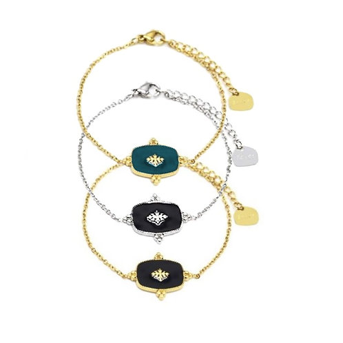 Bracelet rétro baroque médaille émail chaîne acier