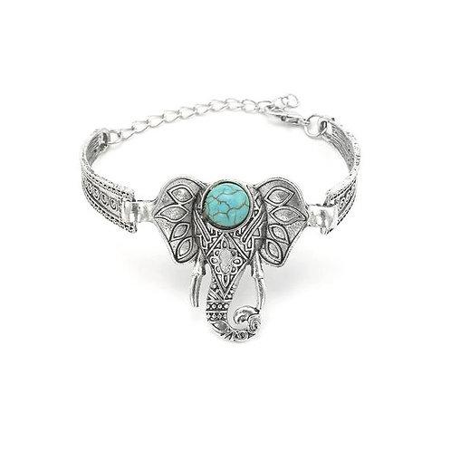Bracelet argenté ethnique éléphant pierre turquoise
