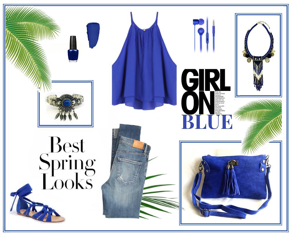 Idée look bijoux et accessoires bleu azur