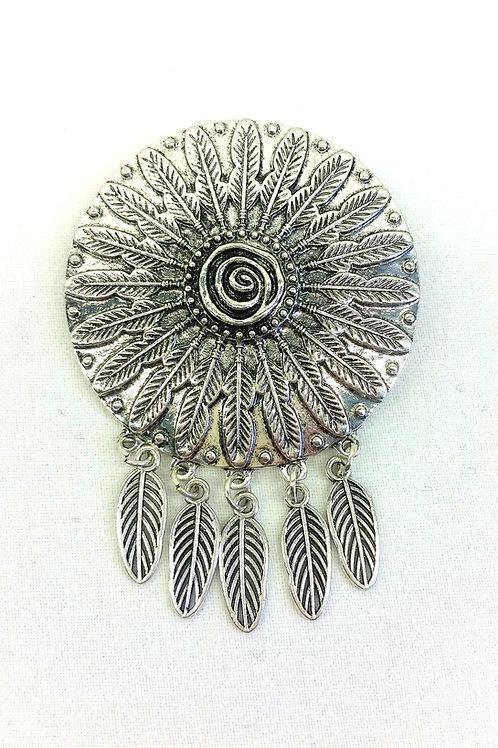 Broche argent amérindienne breloques plume