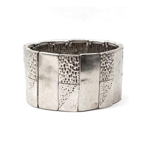 Manchette bracelet argenté