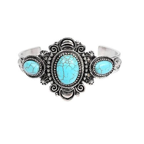 Bracelet manchette pas cher pierre turquoise