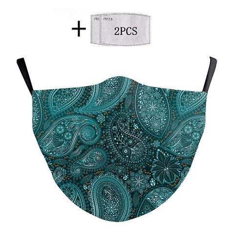 Masque tissu lavable motif cachemire vert turquoise