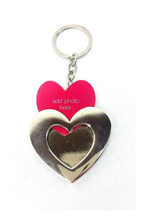 Porte clef bijou de sac cœur avec insertion photo
