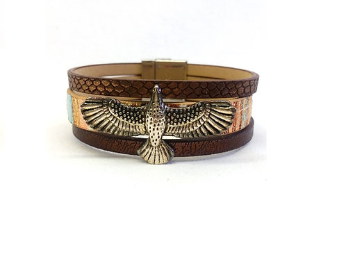 Bracelet amérindien manchette mordoré aigle