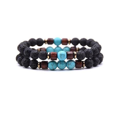 Bracelet mixte pierre de lave et turquoises