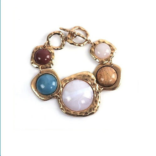 Bracelet doré ethnique en pierres naturelles