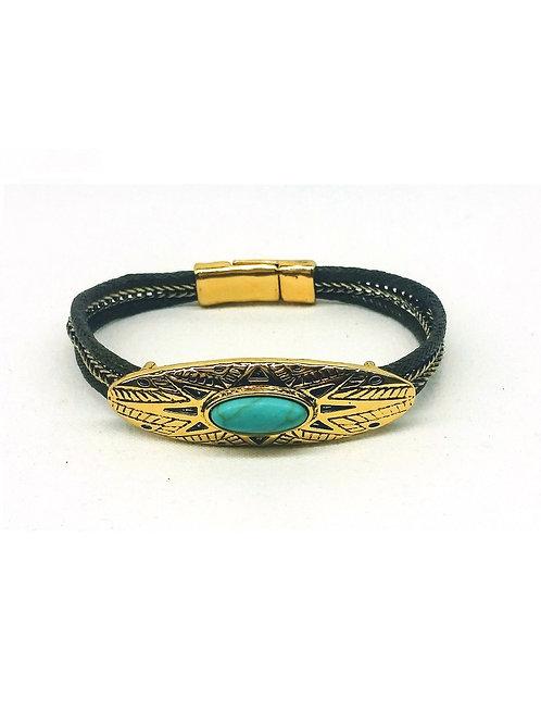 Bracelet ethnique amérindien doré pierre turquoise