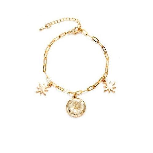 Bracelet doré pampilles breloques étoiles