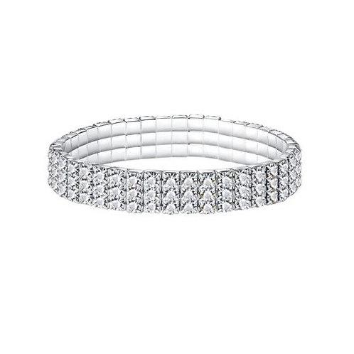 Bracelet habillé strass trois rangs