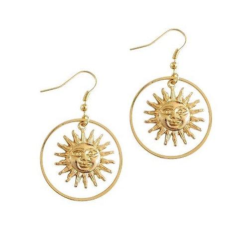 Boucles d'oreilles créole dorées soleil