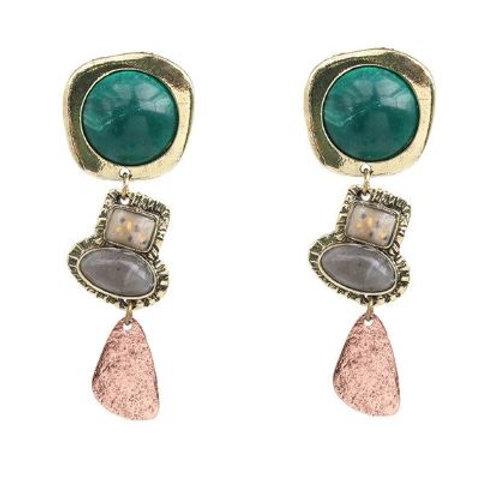 Boucles d'oreilles pierres colorées vert