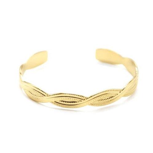 Bracelet jonc acier or torsadé