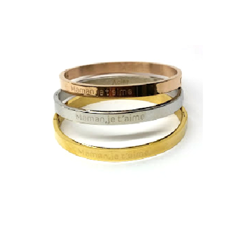 Bracelets jonc acier or, or rose, cuivre ou argenté message