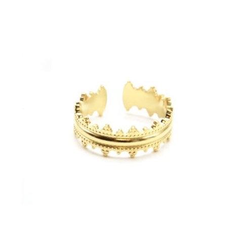 Anneau acier inoxydable doré forme couronne