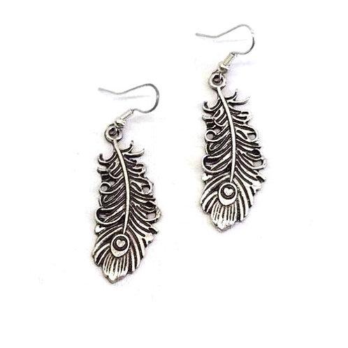 Boucles d'oreilles métal argenté plume stylisée