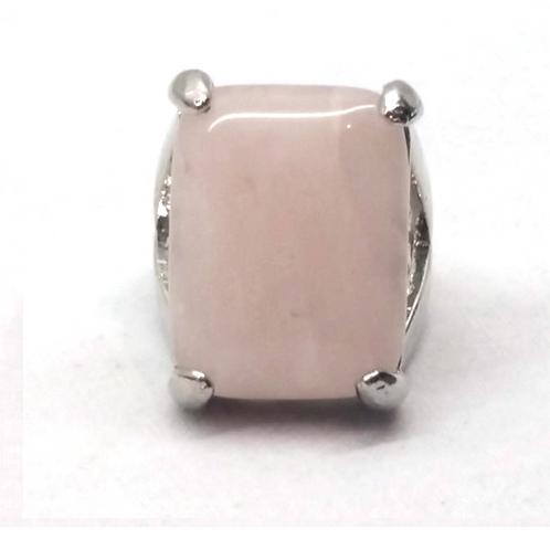 Bague en pierre semi-précieuse rectangle quartz rose