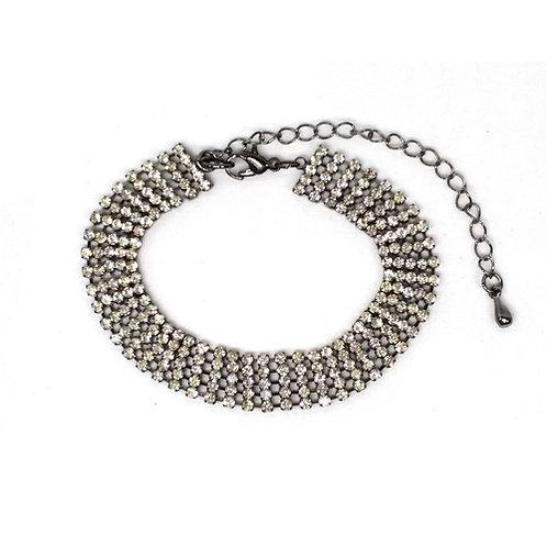 Bracelet habillé strass cinq rangs
