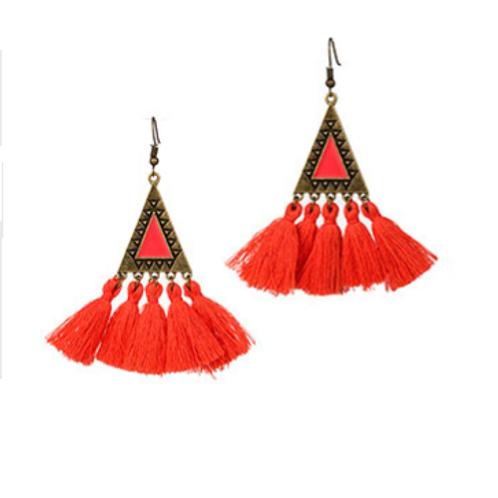 Boucles d'oreille ethniques pompons orange