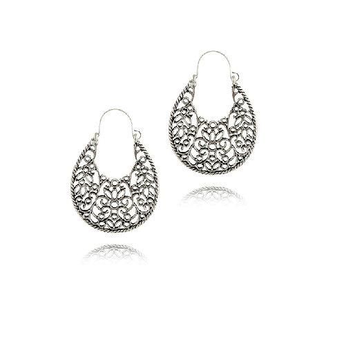 Boucles d'oreilles ethniques métal argenté