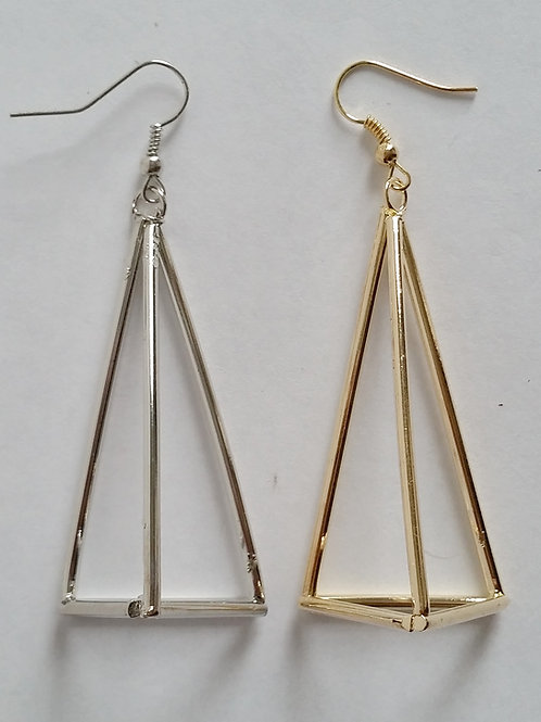 BOUCLES D'OREILLES CREOLE TRIANGLE PYRAMIDES