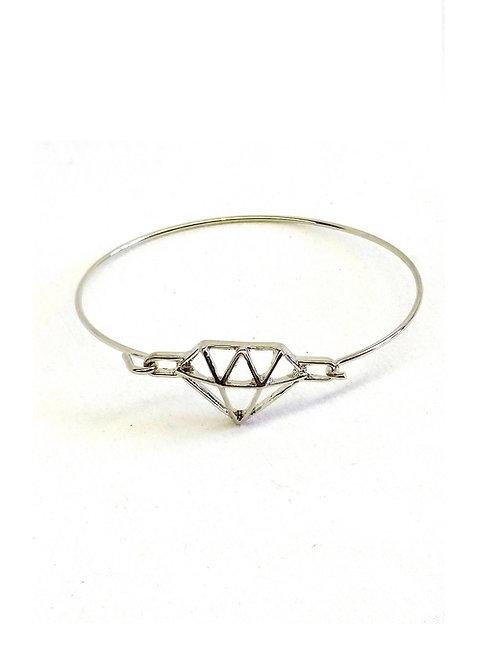 Bracelet jonc argenté motif diamant filigrane