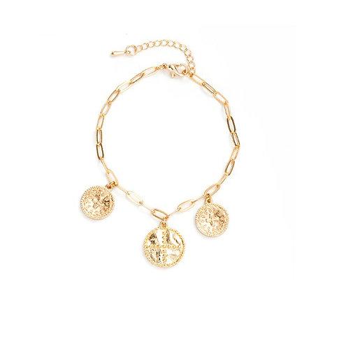 Bracelet doré pampilles breloques croix