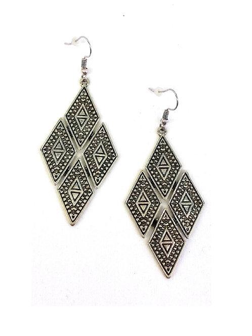 Boucles d'oreilles ethniques losange métal argent
