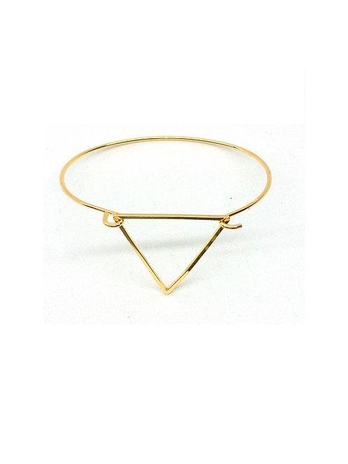 Bracelet jonc charme triangle géométrique doré