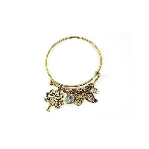 Bracelet jonc doré arbre de vie