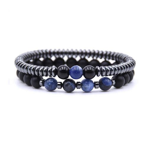Bracelet mixte pierre semi-précieuse sodalite et hématite