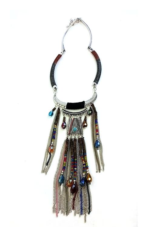 Collier ethnique coloré breloques