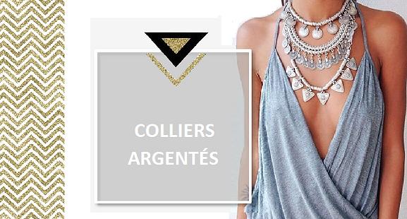 Un collier en métal argenté sera plus discret qu'en doré. Rien n'empêche cependant de jouer la carte de l'accumulation avec des sautoirs ornés de pampilles. Les bijoux en métal argenté sont souvent de style ethnique ou bohème.