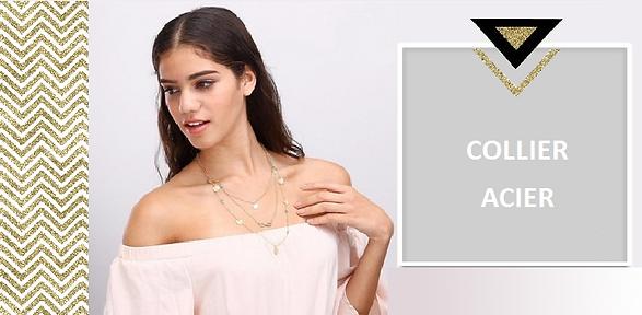 Le collier acier inoxydable est l'élément essentiel pour habiller votre decolleté. Collier acier sautoir ou ras de cou, les colliers fins en acier  s'accumulent avec brio