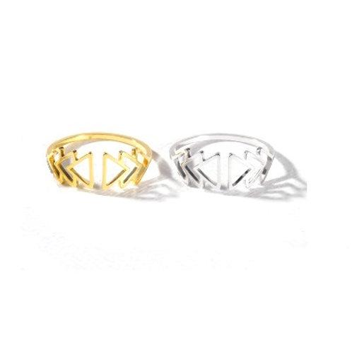 Bague anneau en acier inoxydable chevrons