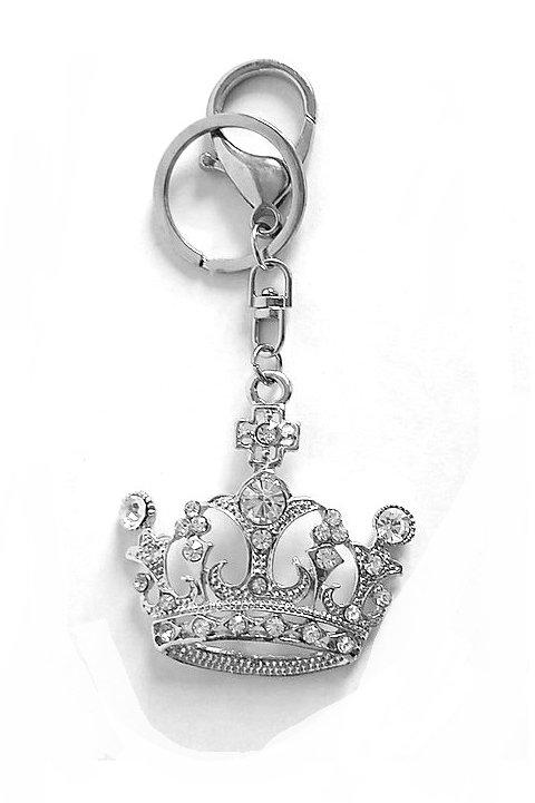 Porte clef couronne argentée strass