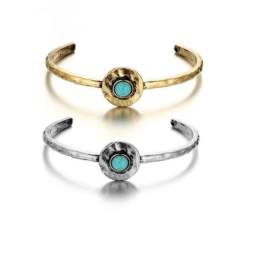 Jonc métal avec pierre turquoise