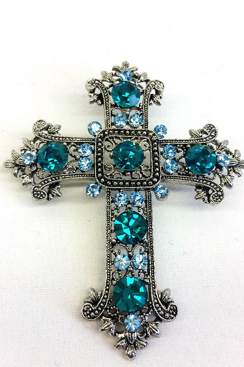 Broche croix strass turquoise et vert