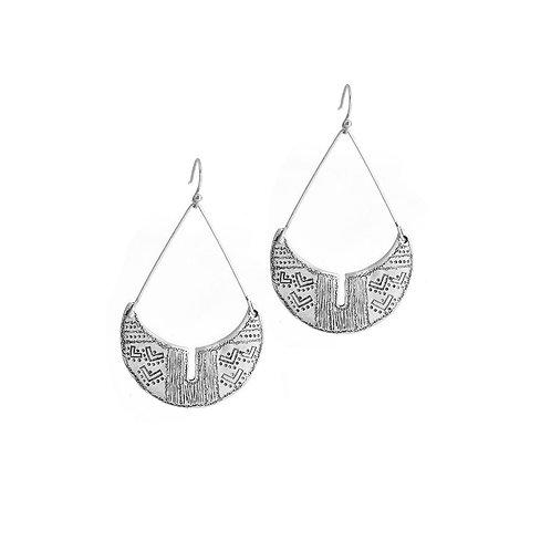 Boucles d'oreilles ethniques suspendue métal argenté